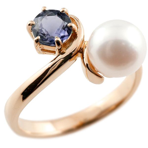 パールリング 真珠 フォーマル アイオライト ピンクゴールドk10 リング ピンキーリング 指輪 10金 宝石 妻 嫁 奥さん 女性 彼女 娘 母 祖母 パートナー 送料無料