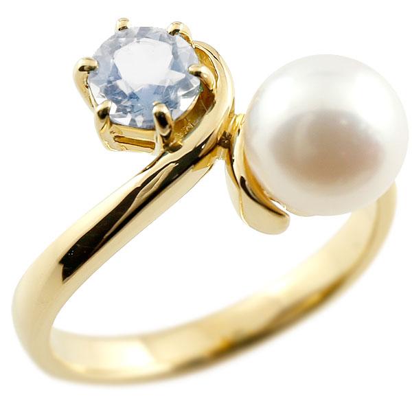 パールリング 真珠 フォーマル ブルームーンストーン イエローゴールドk10 リング ピンキーリング 指輪 10金 宝石 妻 嫁 奥さん 女性 彼女 娘 母 祖母 パートナー 送料無料