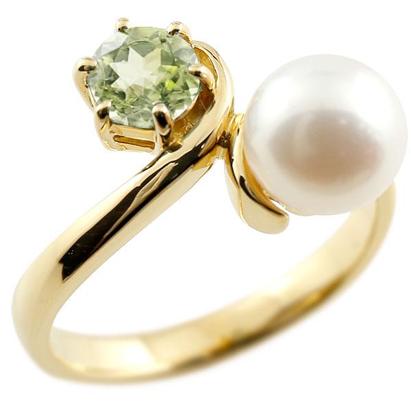 パールリング 真珠 フォーマル ペリドット イエローゴールドk10 リング ピンキーリング 指輪 10金 宝石 妻 嫁 奥さん 女性 彼女 娘 母 祖母 パートナー 送料無料