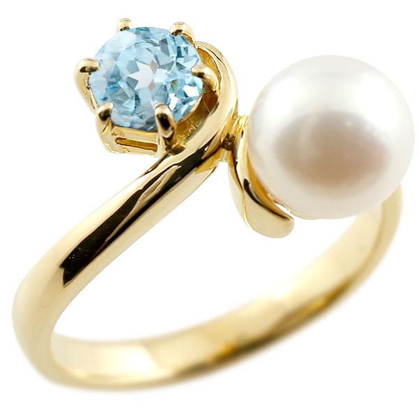 パールリング 真珠 フォーマル ブルートパーズ イエローゴールドk10 リング ピンキーリング 指輪 10金 宝石 妻 嫁 奥さん 女性 彼女 娘 母 祖母 パートナー 送料無料