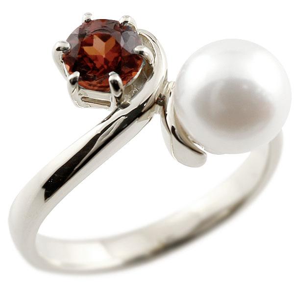 パールリング 真珠 フォーマル ガーネット ホワイトゴールドk18 リング ピンキーリング 指輪 18金 宝石 妻 嫁 奥さん 女性 彼女 娘 母 祖母 パートナー 送料無料