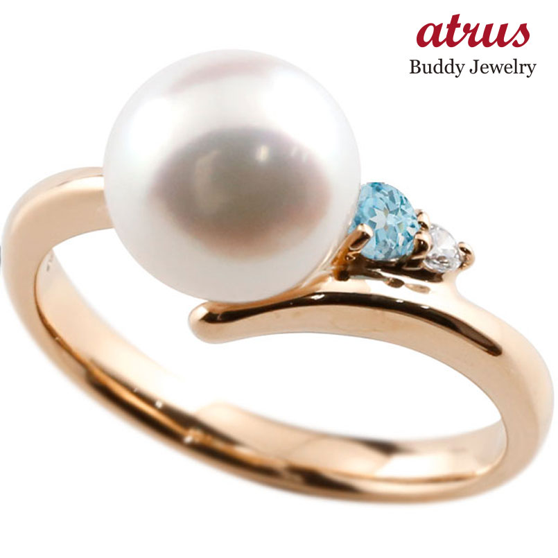 パールリング 真珠 フォーマル ブルートパーズ ピンクゴールドk18 リング ダイヤモンド ピンキーリング ダイヤ 指輪 18金 宝石