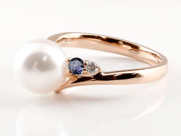パールリング 真珠 フォーマル アイオライト ピンクゴールドk10 リング ダイヤモンド ピンキーリング ダイヤ 指輪 10金ny8wOmN0Pv