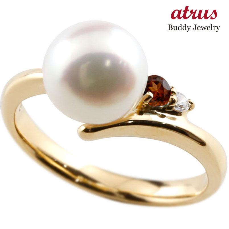 パールリング 真珠 フォーマル ガーネット イエローゴールドk10 リング ダイヤモンド ピンキーリング ダイヤ 指輪 10金 宝石