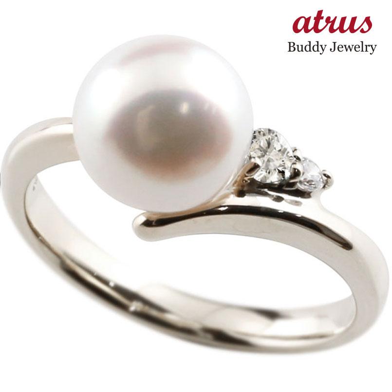 パールリング 真珠 フォーマル ダイヤモンド シルバー925 リング ピンキーリング ダイヤ 指輪 宝石 妻 嫁 奥さん 女性 彼女 娘 母 祖母 パートナー 送料無料