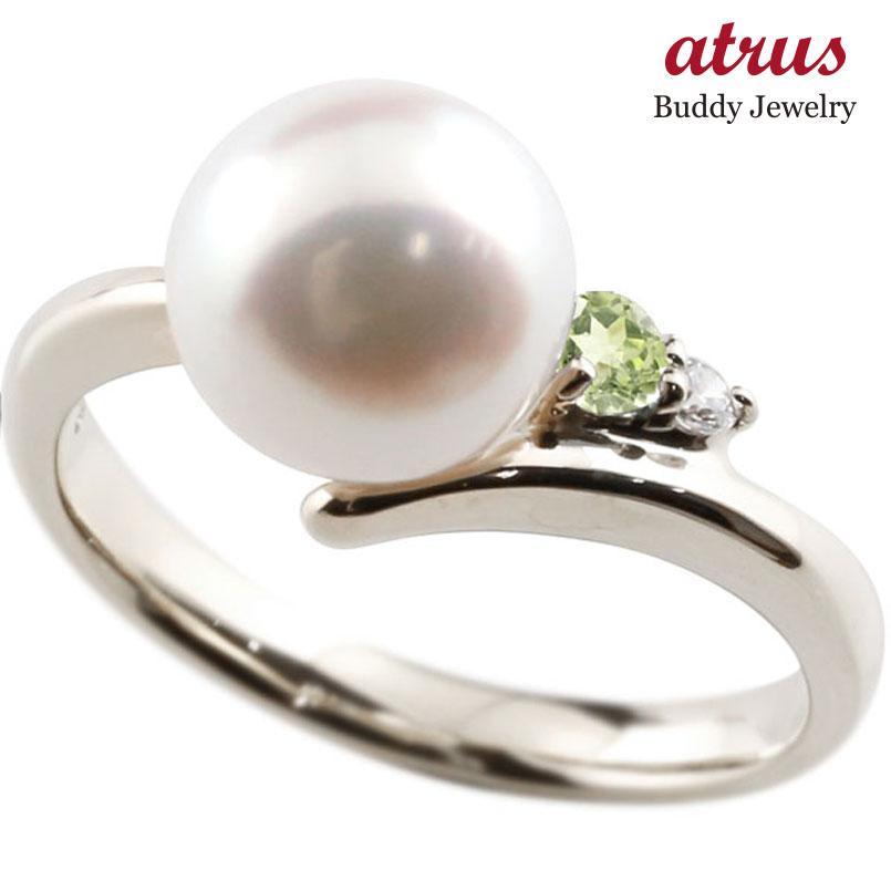 パールリング 真珠 フォーマル ペリドット シルバー925 リング ダイヤモンド ピンキーリング ダイヤ 指輪 宝石 妻 嫁 奥さん 女性 彼女 娘 母 祖母 パートナー 送料無料