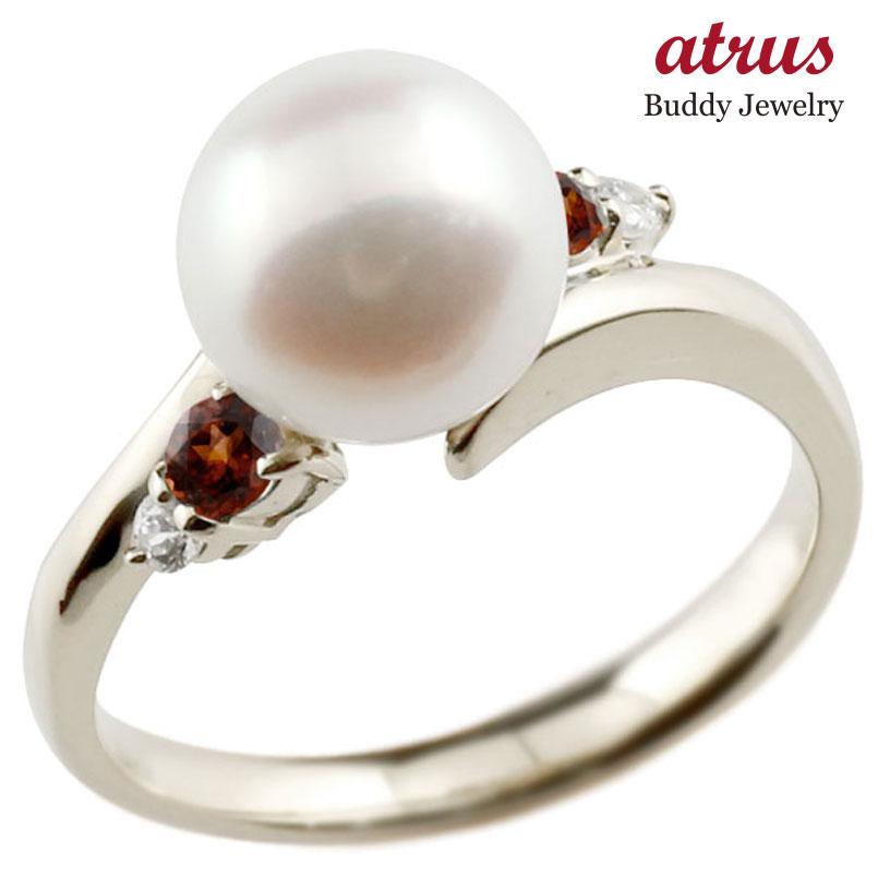 パールリング 真珠 フォーマル ガーネット ホワイトゴールドk18 リング ダイヤモンド ピンキーリング ダイヤ 指輪 18金 スパイラル 宝石 妻 嫁 奥さん 女性 彼女 娘 母 祖母 パートナー 送料無料