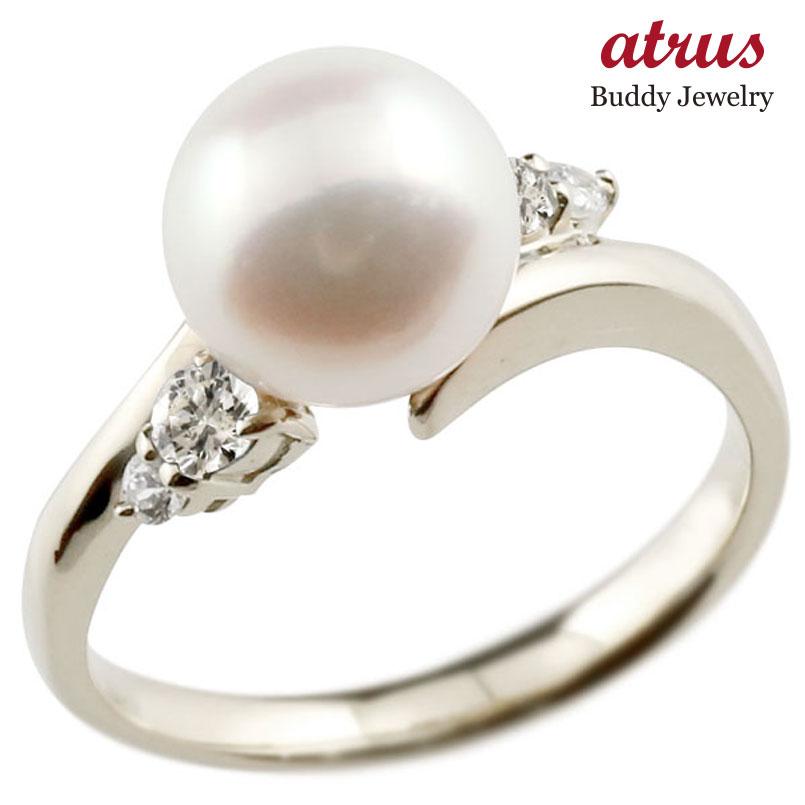 パールリング 真珠 フォーマル ダイヤモンド ホワイトゴールドk10 リング ピンキーリング ダイヤ 指輪 10金 スパイラル 宝石 妻 嫁 奥さん 女性 彼女 娘 母 祖母 パートナー 送料無料