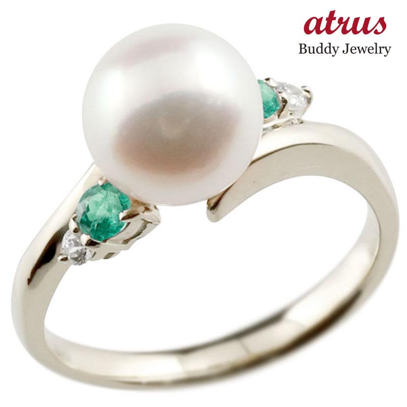 パールリング 真珠 フォーマル エメラルド ホワイトゴールドk10 リング ダイヤモンド ピンキーリング ダイヤ 指輪 10金 スパイラル 宝石 妻 嫁 奥さん 女性 彼女 娘 母 祖母 パートナー 送料無料