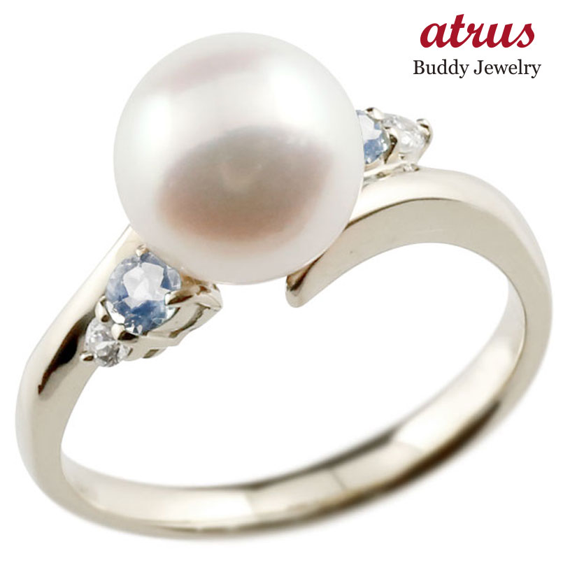パールリング 真珠 フォーマル ブルームーンストーン シルバー925 リング ダイヤモンド ピンキーリング ダイヤ 指輪 スパイラル 宝石 妻 嫁 奥さん 女性 彼女 娘 母 祖母 パートナー 送料無料