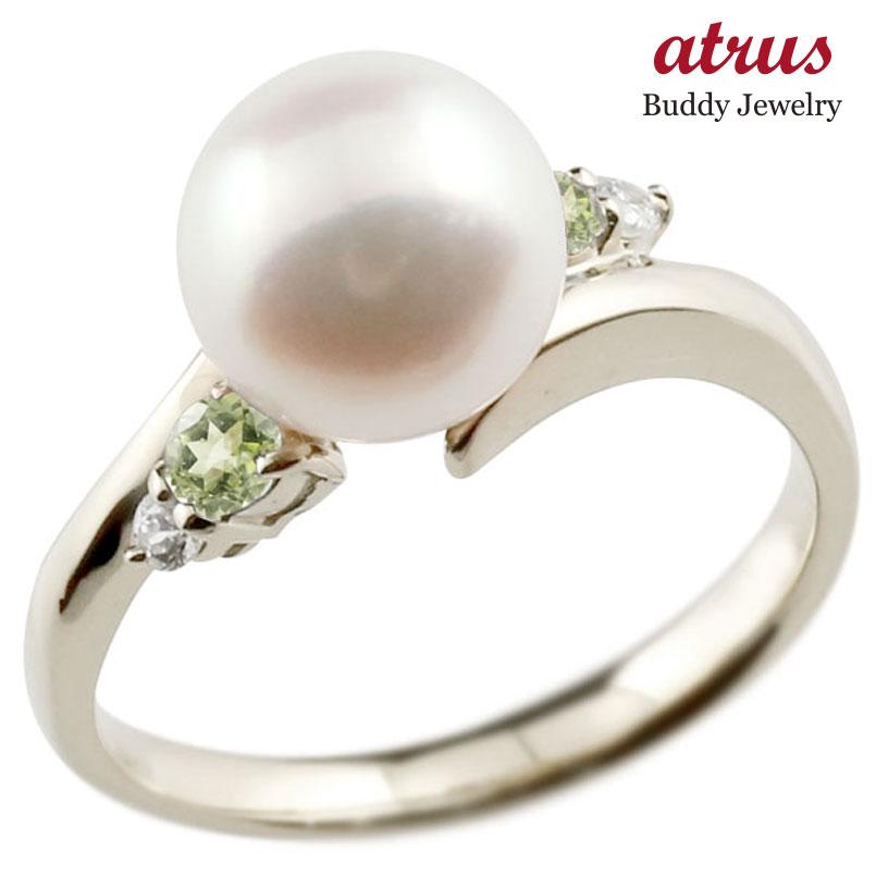 パールリング 真珠 フォーマル ペリドット シルバー925 リング ダイヤモンド ピンキーリング ダイヤ 指輪 スパイラル 宝石 妻 嫁 奥さん 女性 彼女 娘 母 祖母 パートナー 送料無料