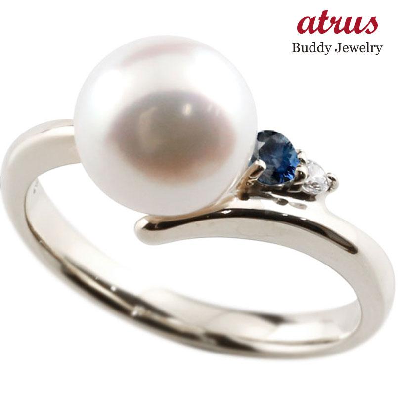 パールリング 真珠 フォーマル サファイア ホワイトゴールドk18 リング ダイヤモンド ピンキーリング ダイヤ 指輪 18金 宝石 妻 嫁 奥さん 女性 彼女 娘 母 祖母 パートナー 送料無料