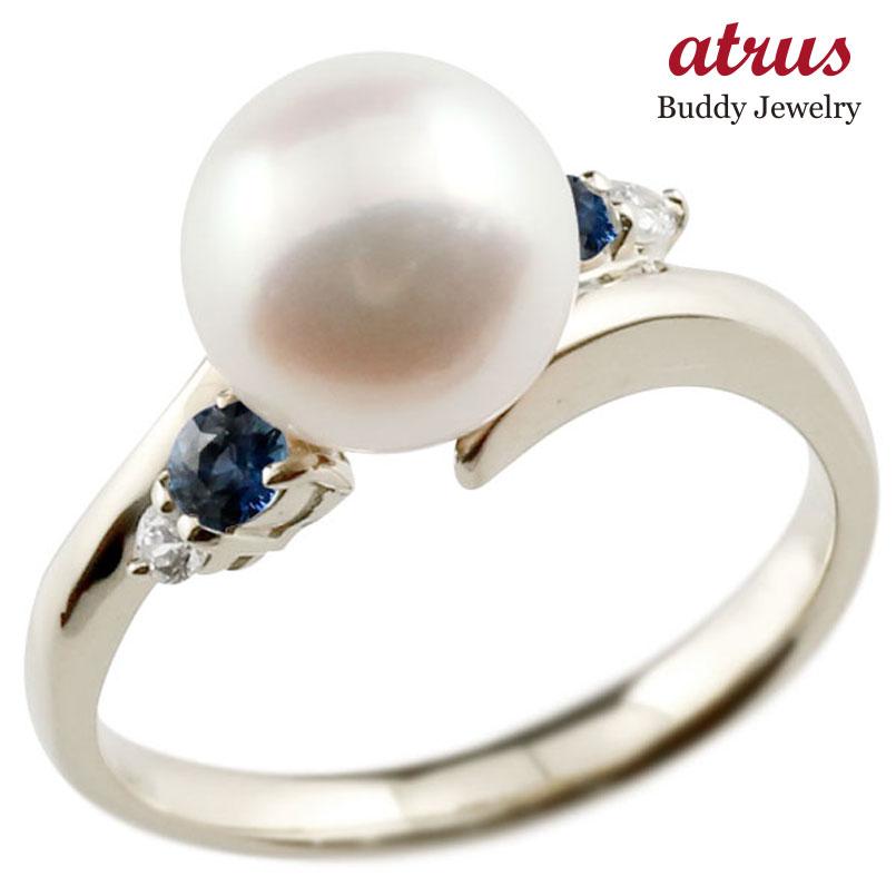 パールリング 真珠 フォーマル サファイア ホワイトゴールドk10 リング ダイヤモンド ピンキーリング ダイヤ 指輪 10金 スパイラル 宝石 妻 嫁 奥さん 女性 彼女 娘 母 祖母 パートナー 送料無料
