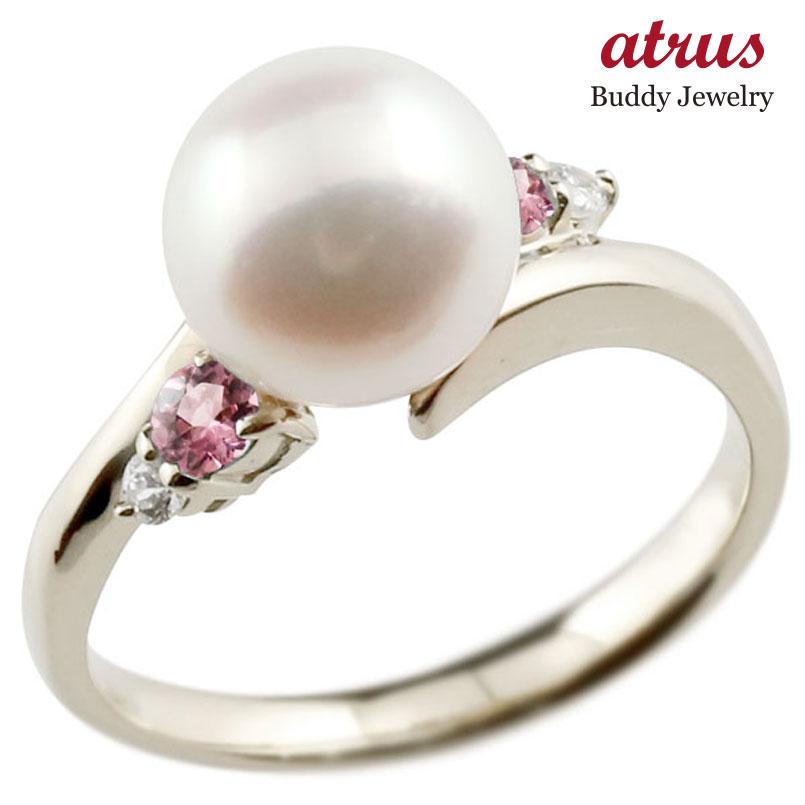 パールリング 真珠 フォーマル ピンクトルマリン ホワイトゴールドk10 リング ダイヤモンド ピンキーリング ダイヤ 指輪 10金 スパイラル 宝石 妻 嫁 奥さん 女性 彼女 娘 母 祖母 パートナー 送料無料