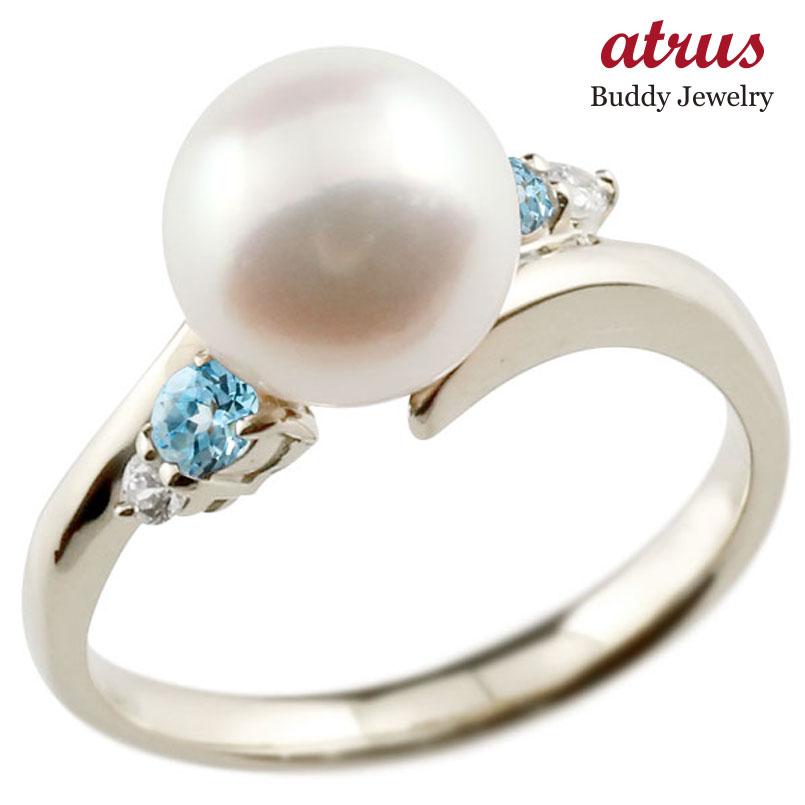 パールリング 真珠 フォーマル ブルートパーズ ホワイトゴールドk10 リング ダイヤモンド ピンキーリング ダイヤ 指輪 10金 スパイラル 宝石 妻 嫁 奥さん 女性 彼女 娘 母 祖母 パートナー 送料無料