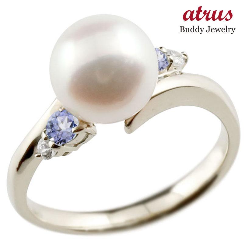 パールリング 真珠 フォーマル タンザナイト シルバー925 リング ダイヤモンド ピンキーリング ダイヤ 指輪 スパイラル 宝石 妻 嫁 奥さん 女性 彼女 娘 母 祖母 パートナー 送料無料
