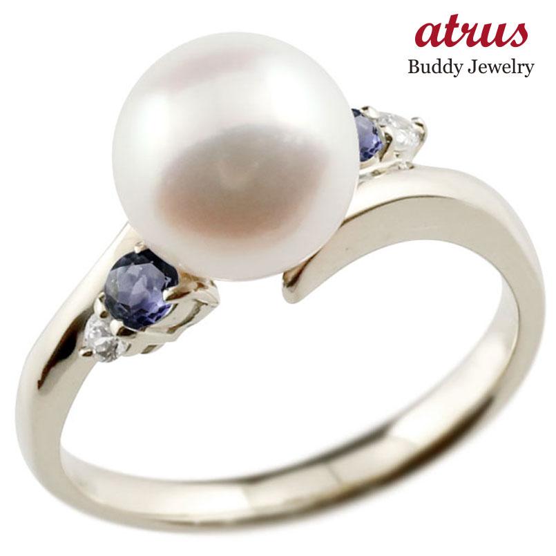 パールリング 真珠 フォーマル アイオライト ホワイトゴールドk10 リング ダイヤモンド ピンキーリング ダイヤ 指輪 10金 スパイラル 宝石 妻 嫁 奥さん 女性 彼女 娘 母 祖母 パートナー 送料無料