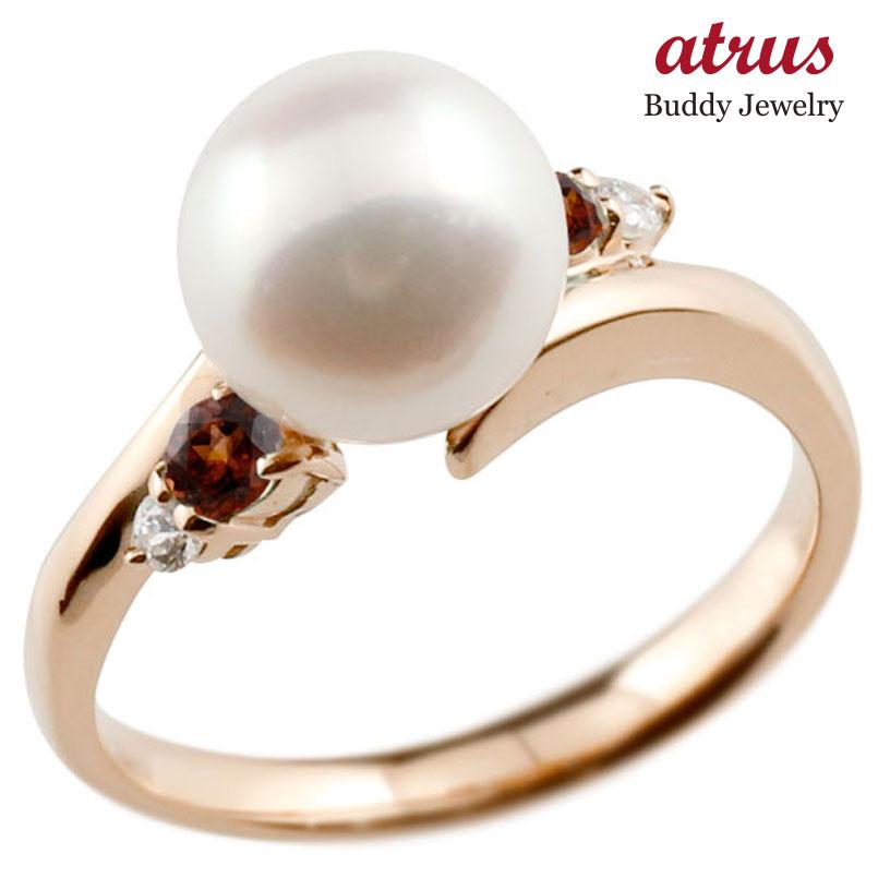パールリング 真珠 フォーマル ガーネット ピンクゴールドk10 リング ダイヤモンド ピンキーリング ダイヤ 指輪 10金 スパイラル 宝石 妻 嫁 奥さん 女性 彼女 娘 母 祖母 パートナー 送料無料