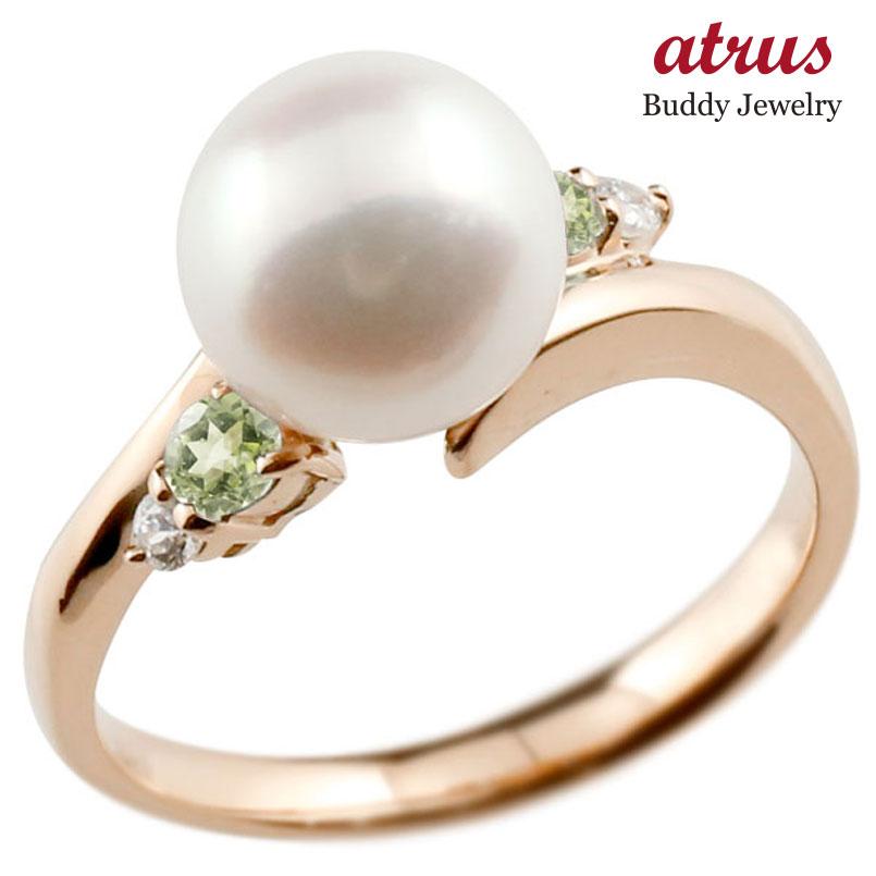 パールリング 真珠 フォーマル ペリドット ピンクゴールドk10 リング ダイヤモンド ピンキーリング ダイヤ 指輪 10金 スパイラル 宝石 妻 嫁 奥さん 女性 彼女 娘 母 祖母 パートナー 送料無料