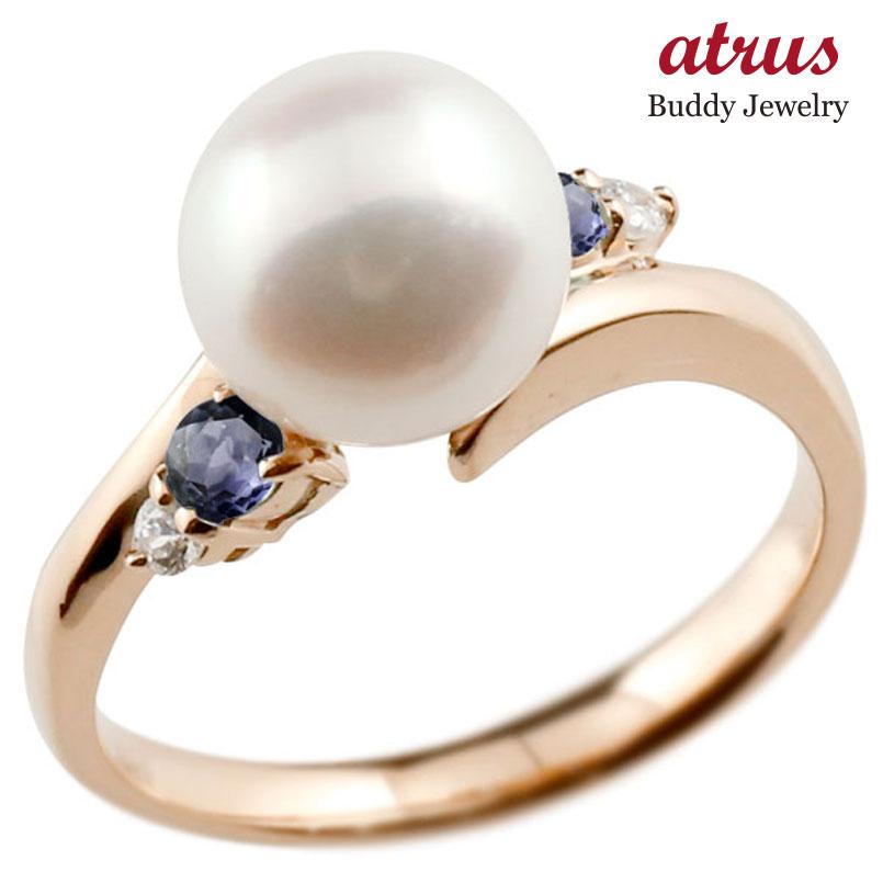 パールリング 真珠 フォーマル アイオライト ピンクゴールドk10 リング ダイヤモンド ピンキーリング ダイヤ 指輪 10金 スパイラル 宝石 妻 嫁 奥さん 女性 彼女 娘 母 祖母 パートナー 送料無料