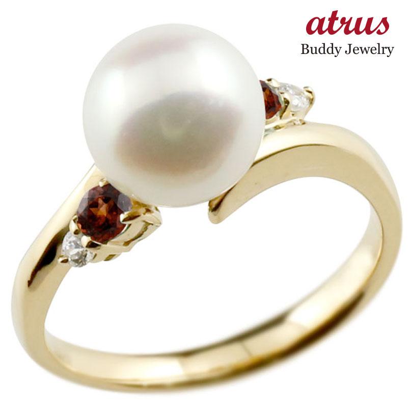 パールリング 真珠 フォーマル ガーネット イエローゴールドk10 リング ダイヤモンド ピンキーリング ダイヤ 指輪 10金 スパイラル 宝石 妻 嫁 奥さん 女性 彼女 娘 母 祖母 パートナー 送料無料