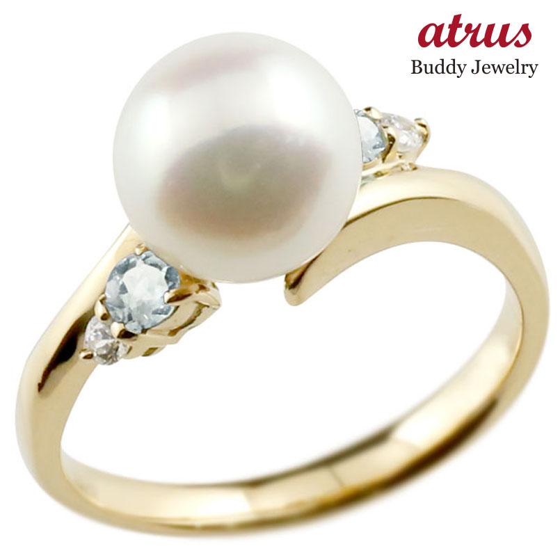 パールリング 真珠 フォーマル アクアマリン イエローゴールドk10 リング ダイヤモンド ピンキーリング ダイヤ 指輪 10金 スパイラル 宝石 妻 嫁 奥さん 女性 彼女 娘 母 祖母 パートナー 送料無料