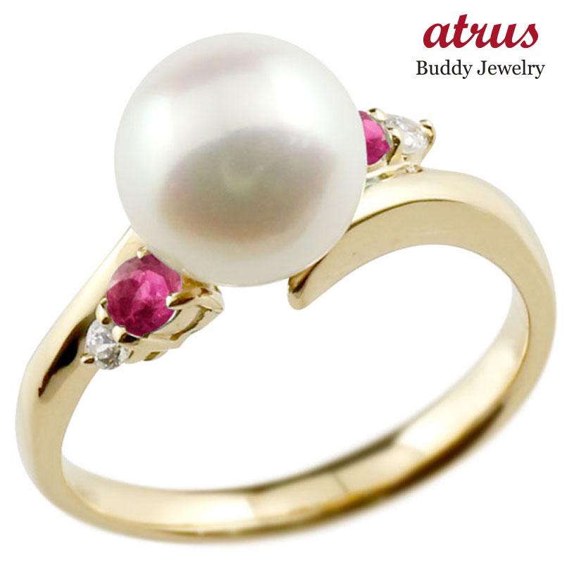 パールリング 真珠 フォーマル ルビー イエローゴールドk10 リング ダイヤモンド ピンキーリング ダイヤ 指輪 10金 スパイラル 宝石 妻 嫁 奥さん 女性 彼女 娘 母 祖母 パートナー 送料無料