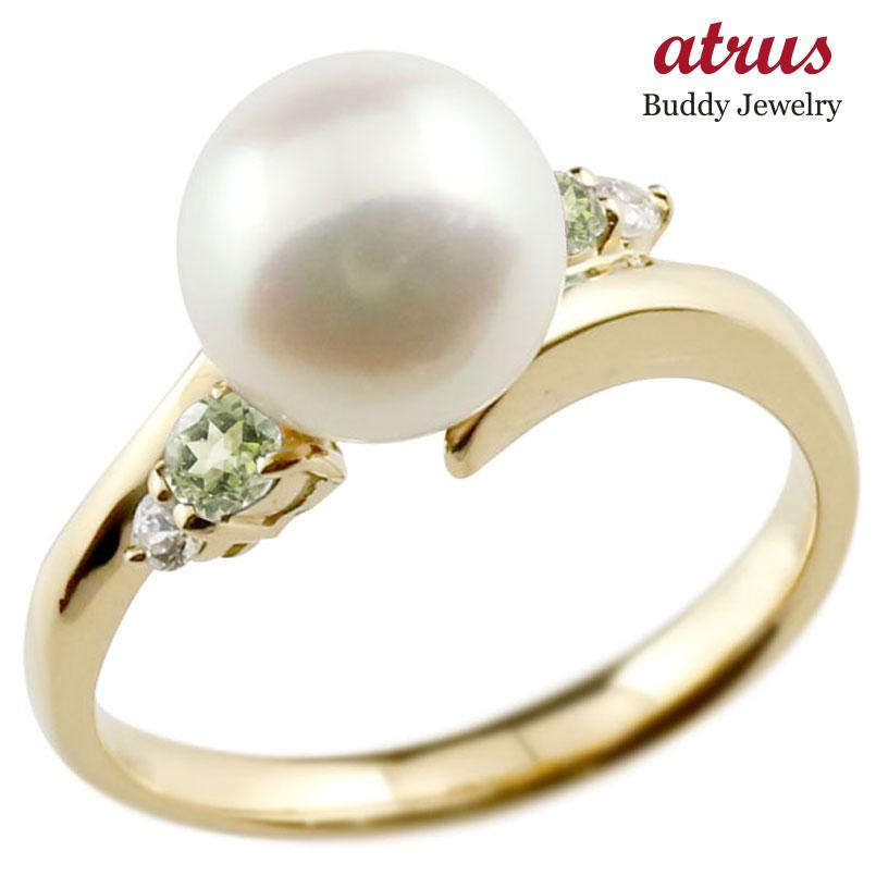 パールリング 真珠 フォーマル ペリドット イエローゴールドk18 リング ダイヤモンド ピンキーリング ダイヤ 指輪 18金 スパイラル 宝石