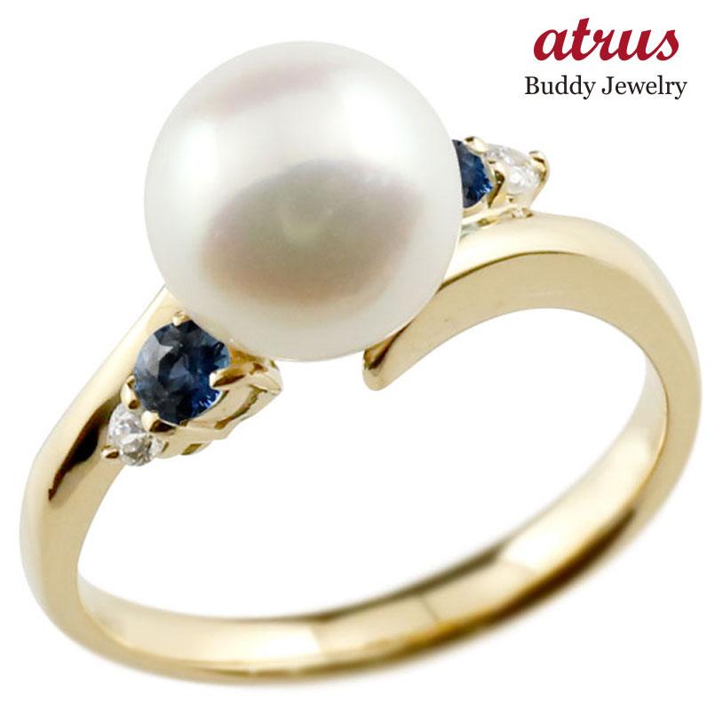 パールリング 真珠 フォーマル サファイア イエローゴールドk10 リング ダイヤモンド ピンキーリング ダイヤ 指輪 10金 スパイラル 宝石 妻 嫁 奥さん 女性 彼女 娘 母 祖母 パートナー 送料無料