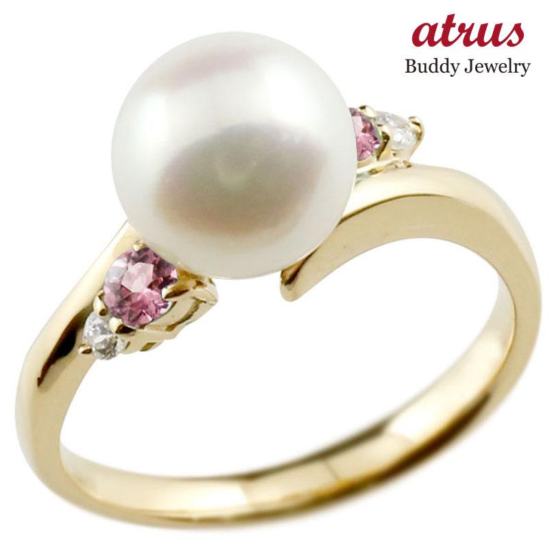 パールリング 真珠 フォーマル ピンクトルマリン イエローゴールドk18 リング ダイヤモンド ピンキーリング ダイヤ 指輪 18金 スパイラル 宝石 妻 嫁 奥さん 女性 彼女 娘 母 祖母 パートナー 送料無料