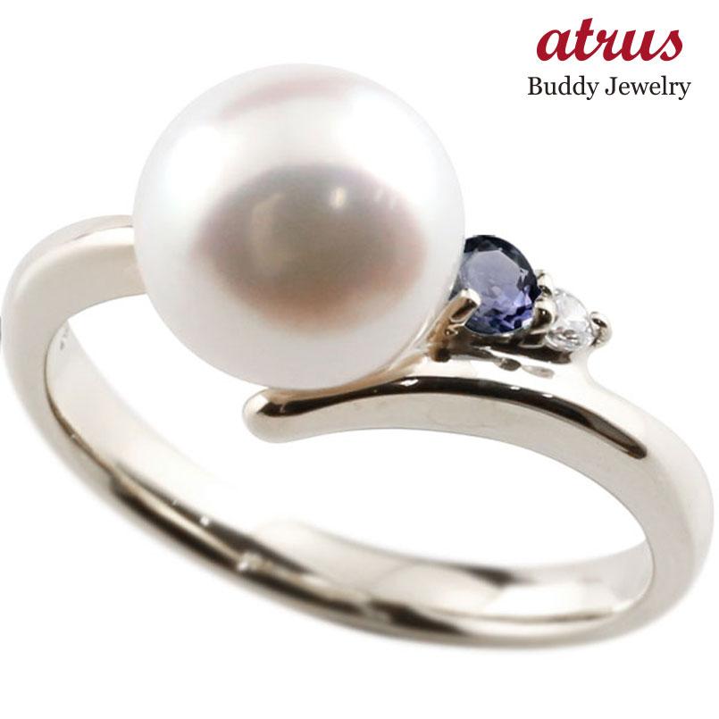 パールリング 真珠 フォーマル アイオライト シルバー925 リング ダイヤモンド ピンキーリング ダイヤ 指輪 宝石 妻 嫁 奥さん 女性 彼女 娘 母 祖母 パートナー 送料無料