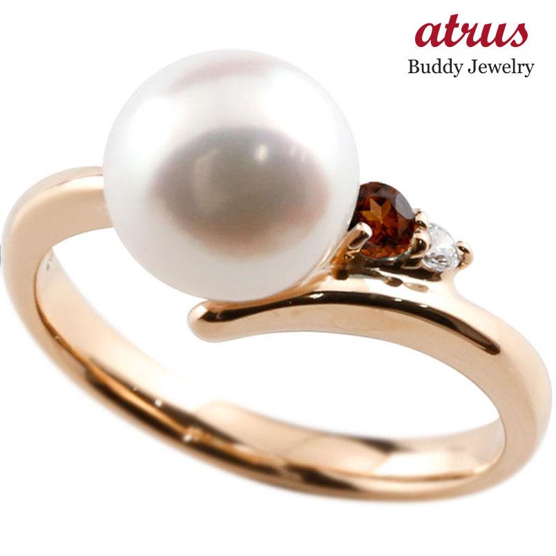 パールリング 真珠 フォーマル ガーネット ピンクゴールドk18 リング ダイヤモンド ピンキーリング ダイヤ 指輪 18金 宝石
