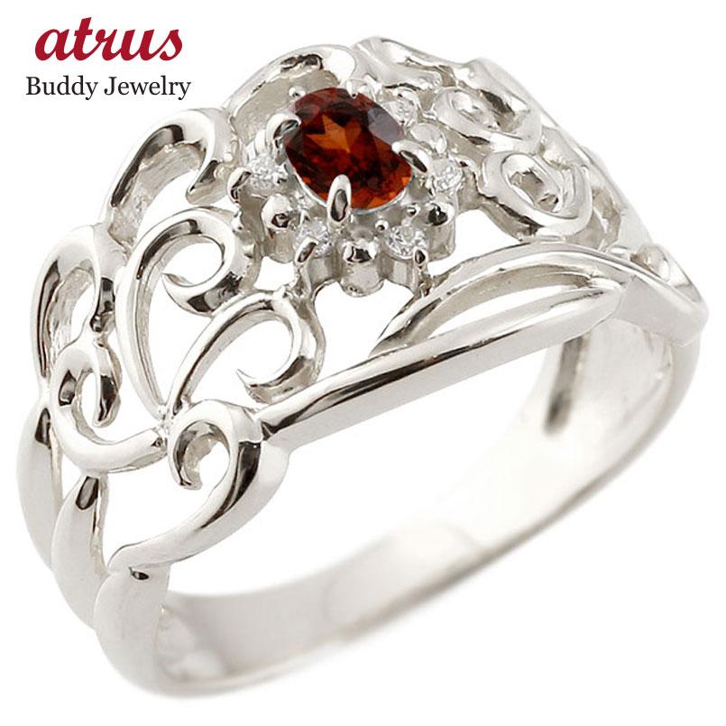 リング ガーネット 指輪 ホワイトゴールドk18 透かし ダイヤモンド 1月誕生石 幅広リング レディース 18金 宝石 お返し 妻 嫁 奥さん 女性 彼女 娘 母 祖母 パートナー 送料無料