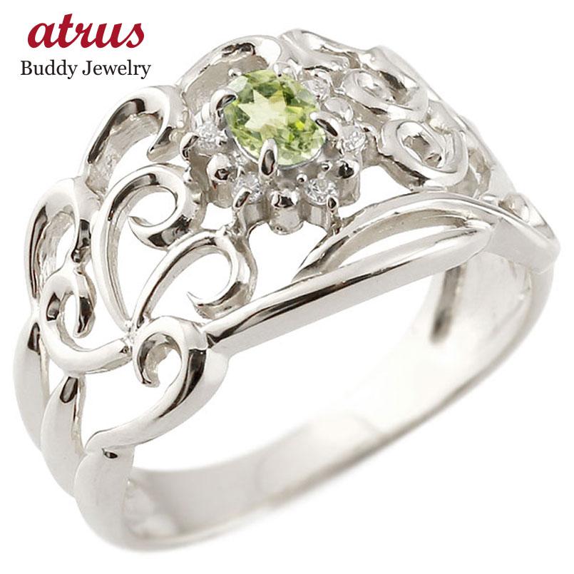 プラチナリング ペリドット 指輪 透かし ダイヤモンド 8月誕生石 幅広リング レディース 宝石 お返し 妻 嫁 奥さん 女性 彼女 娘 母 祖母 パートナー 送料無料