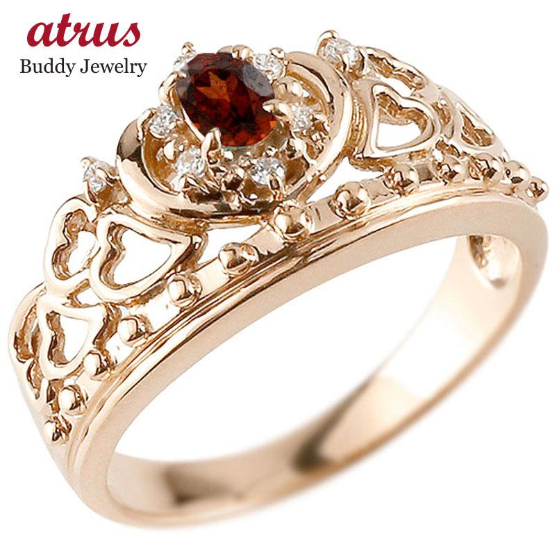 ピンキーリング リング ガーネット 指輪 ピンクゴールドk18 透かし ティアラ ダイヤモンド 1月誕生石 幅広リング レディース 18金 宝石 お返し 妻 嫁 奥さん 女性 彼女 娘 母 祖母 パートナー 送料無料