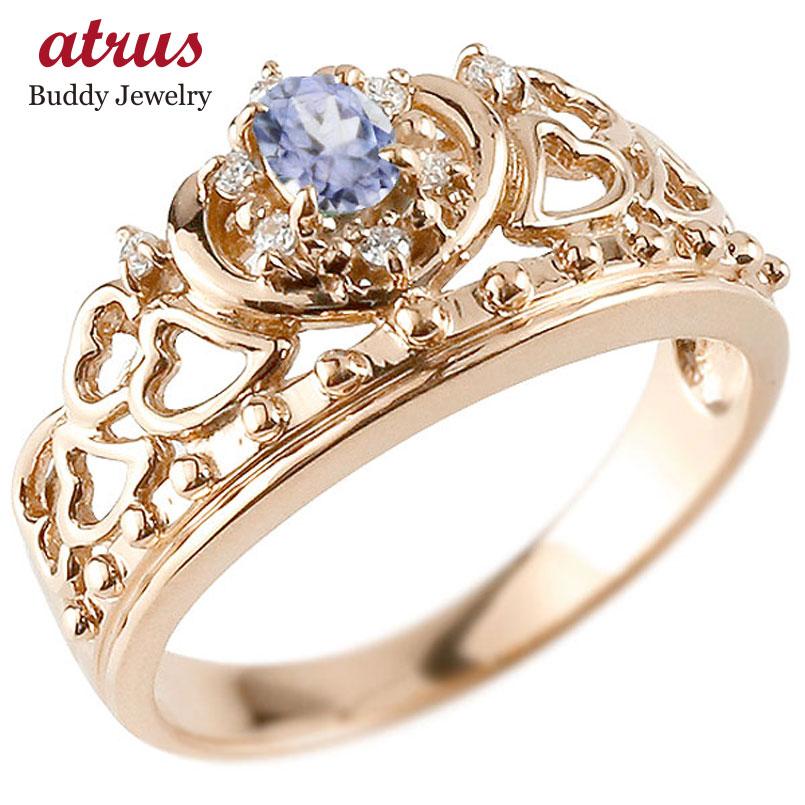 ピンキーリング リング タンザナイト 指輪 ピンクゴールドk18 透かし ティアラ ダイヤモンド 12月誕生石 幅広リング レディース 18金 宝石 お返し
