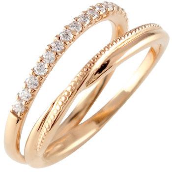 ピンキーリング ダイヤモンド エタニティ ハーフエタニティ リング 婚約指輪 エンゲージリング ピンクゴールドk18 18金 ダイヤ 4月誕生石 ストレート