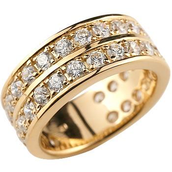 ピンキーリング ダイヤモンド エタニティ ハーフエタニティ リング ピンクゴールドk18 18金 リング 幅広 指輪 ダイヤ ストレート