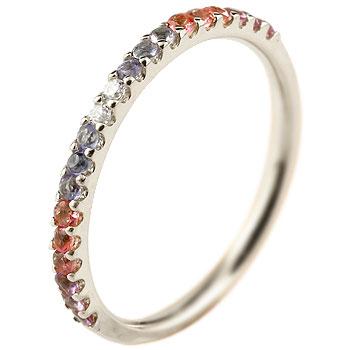 ピンキーリング ダイヤモンド エタニティ ハーフエタニティ リング アメジスト 指輪 ホワイトゴールドk10 10金 ダイヤ ストレート 宝石