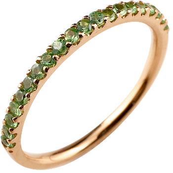 ピンキーリング ダイヤモンド エタニティ ハーフエタニティ リング グリーンガーネット 指輪 ピンクゴールドk10 10金 ストレート 宝石