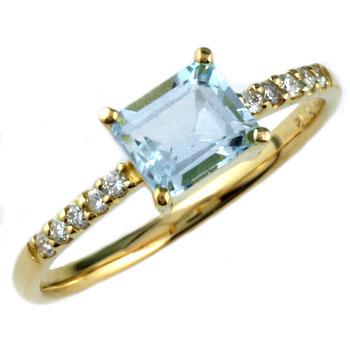 ピンキーリング アクアマリン リング 指輪 ダイヤモンド ダイヤ イエローゴールドk18 18金 シンプル レディース 3月誕生石 ストレート 宝石 妻 嫁 奥さん 女性 彼女 娘 母 祖母 パートナー 送料無料