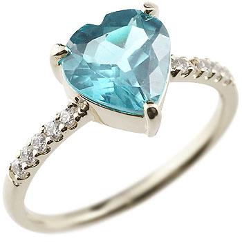 ピンキーリング ハート プラチナリング ブルートパーズ ダイヤモンド 指輪 11月誕生石 ダイヤ 宝石 妻 嫁 奥さん 女性 彼女 娘 母 祖母 パートナー 送料無料