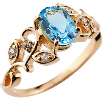 ピンキーリング アンティーク ブルートパーズ リング ダイヤモンド 指輪 ピンクゴールドk18 18金 アンティーク レディース 11月誕生石 ダイヤ ストレート 宝石