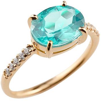 ピンキーリング ブルートパーズ リング ダイヤモンド 指輪 ピンクゴールドk18 18金 大粒 11月誕生石 ダイヤ ストレート 宝石