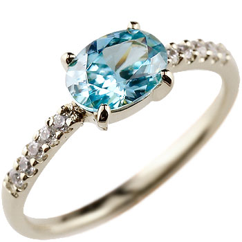 ピンキーリング ブルートパーズ リング ダイヤモンド 指輪 ダイヤ ホワイトゴールドk18 18金 シンプル レディース 11月誕生石 ストレート 宝石