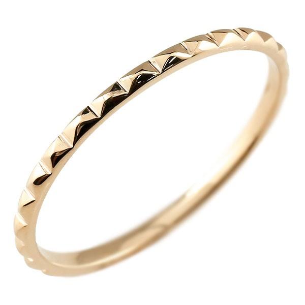 ピンキーリング リング 地金リング ピンクゴールドk18 18金 極細 華奢 指輪
