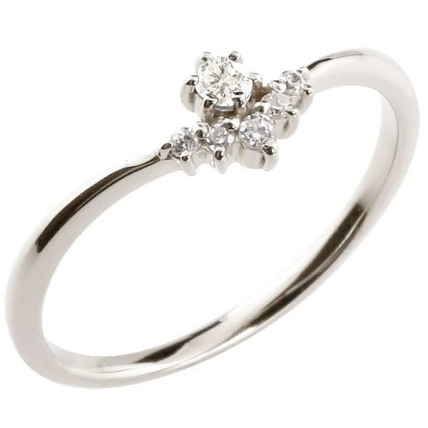 プラチナリング ダイヤモンド ピンキーリング 指輪 華奢リング 重ね付け pt900 レディース 4月誕生石 V字 妻 嫁 奥さん 女性 彼女 娘 母 祖母 パートナー 送料無料