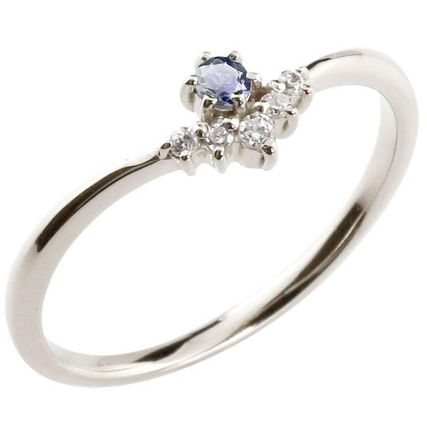 リング アイオライト ダイヤモンド ホワイトゴールドk10 ピンキーリング 指輪 華奢リング 重ね付け 10金 レディース V字