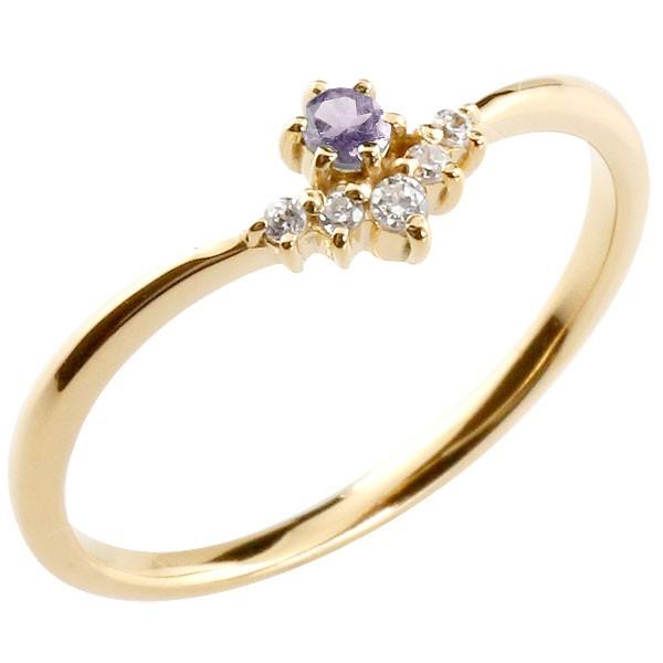 リング アメジスト ダイヤモンド イエローゴールドk18 ピンキーリング 指輪 華奢リング 重ね付け 18金 レディース 2月誕生石 V字