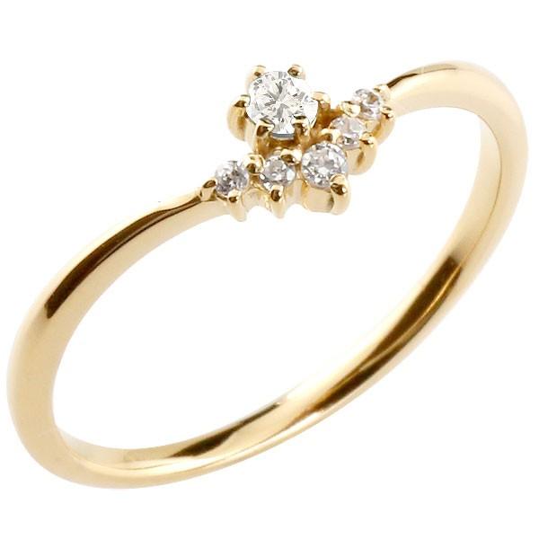 リング ダイヤモンド イエローゴールドk10 ピンキーリング 指輪 華奢リング 重ね付け 10金 レディース 4月誕生石 V字